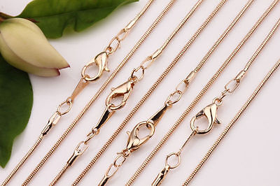 5Pcs Silver/Gold Plated 1.0mm Snake Chain Clasp Necklace Craft Finding DIY 43cm