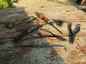 Job-Lot-Vintage-Antique-Tools-Marples-Screwdrivers-Hammer-Wrench-Engineer-Tools