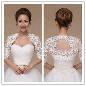 White Lace Jackets Bridemaids Bolero Wedding Evening Shrugs Shawls