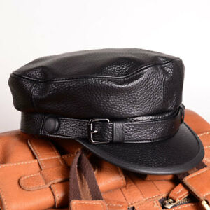 MEN WOMEN S Fashion Genuine Leather Beret newsboy military style ... 2b2769b21aa4