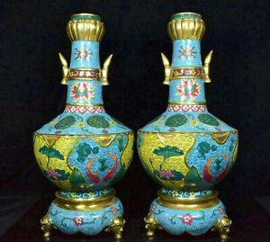 17-6-034-Qianlong-Chine-Cloisonne-Email-Cuivre-Annee-Poisson-Lotus-Bouteille-Vase