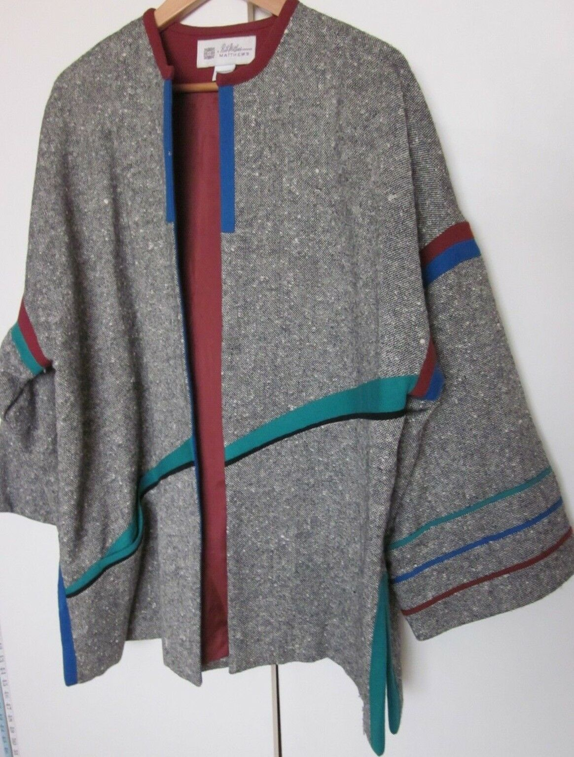 Women s RUTH MATTHEWS Design Vintage Grey Tweed Multi color Skirt Suit  Medium