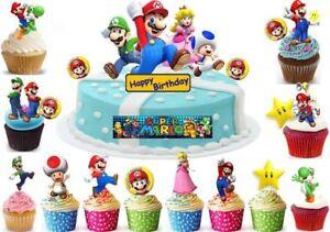 Super Mario Brothers Essbar Tortenaufleger Neu Party Deko