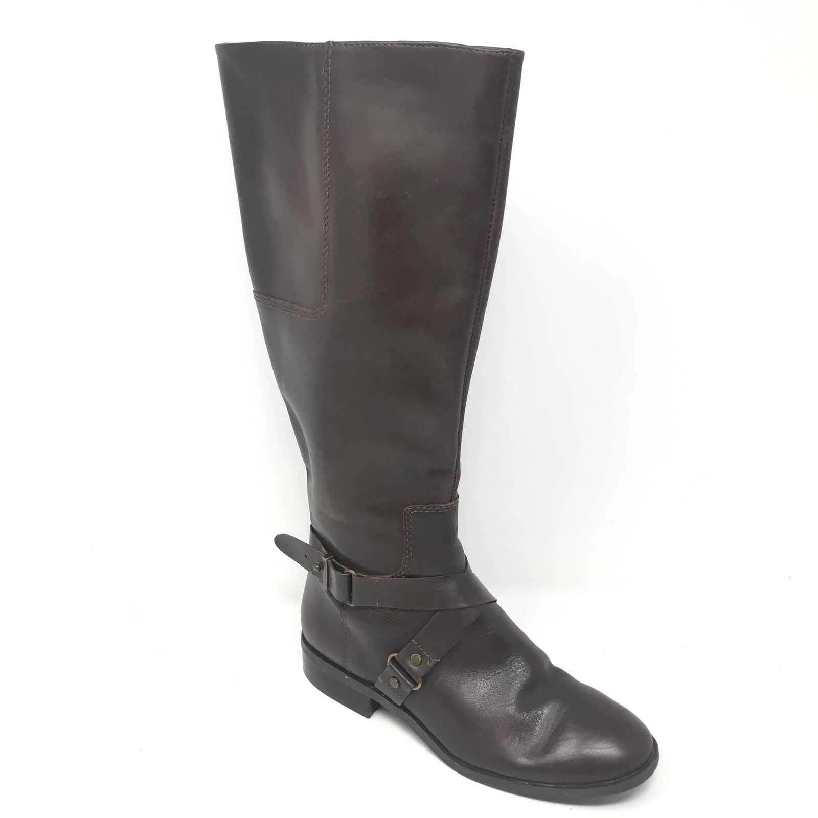 Women's Nine West Bloggr Knee High Boots shoes Size 5.5M Brown Leather Zip Up C14