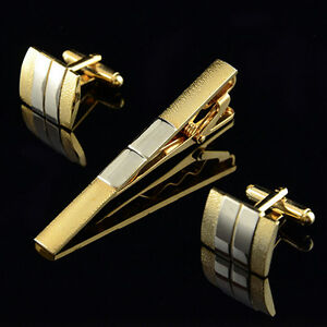 Modish-Goodly-Men-Silver-Gold-Plated-Cufflinks-Tie-Bar-Clasp-Clip-Set-Gift