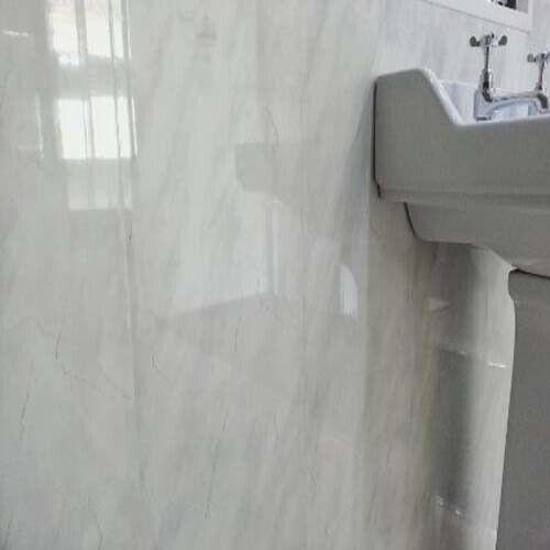 Luz gris Mármol 5mm cuarto de baño ducha de plástico PVC revestimiento Paneles De Parojo Parojo húmedo