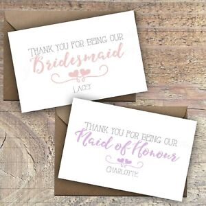 Personalised-039-Thank-You-for-being-our-bridesmaid-039-Cards-Postcard-Packs-of-10