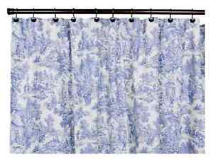 Image Is Loading Victorian Shower Curtain Park Toile Bathroom Blue NEW