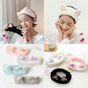 Sequin-Cat-Ears-Plush-Headband-Soft-Elastic-Makeup-Wash-Face-Hair-Band-Headwrap