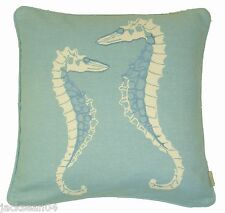 """FILLED SEAHORSES 100% COTTON DUCK EGG BLUE WHITE EMBROIDERED PIPED CUSHION 18"""""""