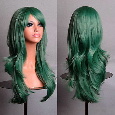 New Fashion Women's Wigs Medium Long Wavy Anime Cosplay Party Wig 70cm