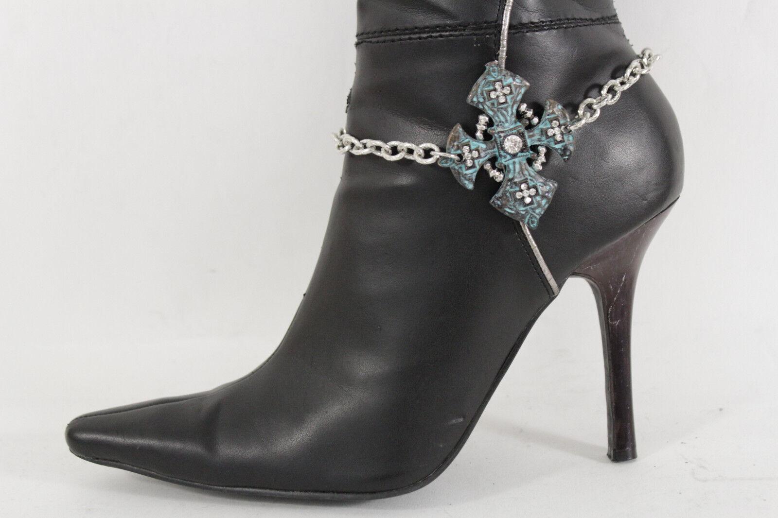 Women Boot Bracelet Silver Metal Chain Vintage Turquoise Cross Anklet Shoe Charm