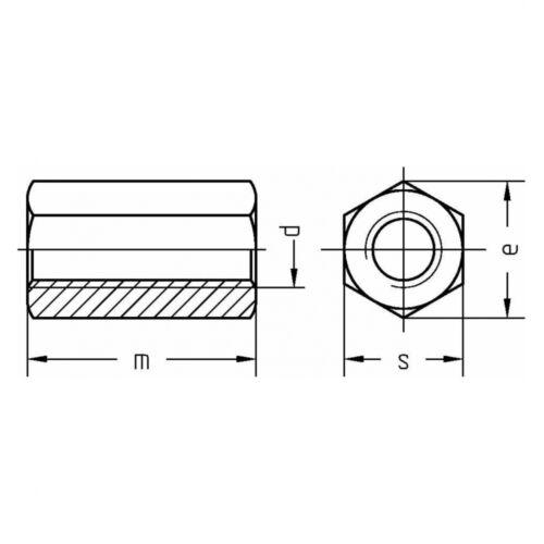 Stahl Klasse 10 galv Höhe 3 d DIN 6334 Sechskantmutter M 24 verzinkt farblo
