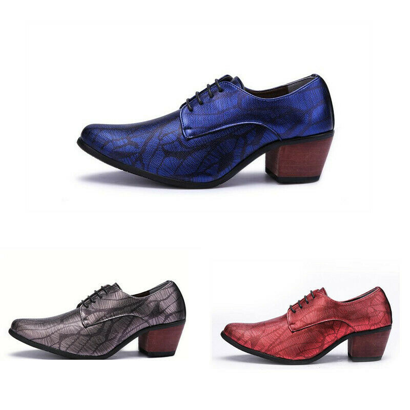 Mens Pointy Toe Lace Up Pumps Solid Party Formal Dress Block Heel Casual shoes