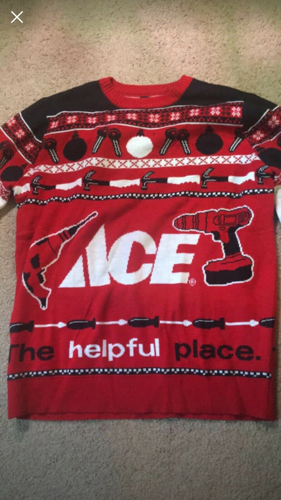 Ace Hardware Holiday Sweater Red White Ugly Sweater Tools Size S Unisex Keys