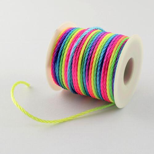 2mm Rainbow Twisted Braided Cord Soutache UK 1M 3M 5M