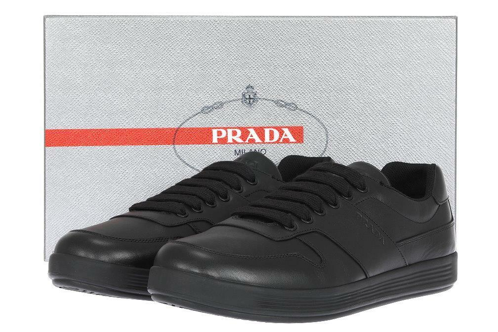 NEW PRADA MEN'S BLACK LEATHER LOGO LACE-UP CASUAL SHOES SNEAKERS 9.5 US 10.5