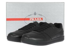 NEW-PRADA-MEN-039-S-BLACK-LEATHER-LOGO-LACE-UP-CASUAL-SHOES-SNEAKERS-11-US-12