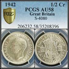 1942 Silver Great Britain Half Crown PCGS AU58 About Unc Vintage Classic Coin
