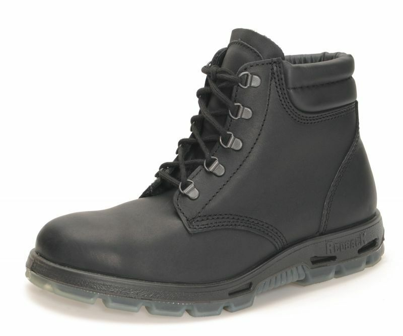 NEW Redback Outback Lace Up Work Boots Safety STEEL TOE Black Leather USABK NIB