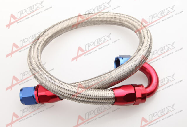 """24"""" 180° 8AN SS Braided Racing Performance Oil Fuel Coolant Line Hose Assembly"""
