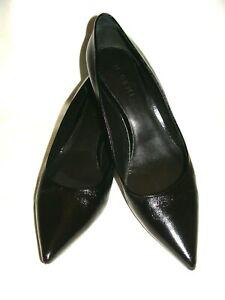 M. Gemi Black Crinkle Leather Pointy Toe Low Heel Pumps! Size 42 Or U.S. 10