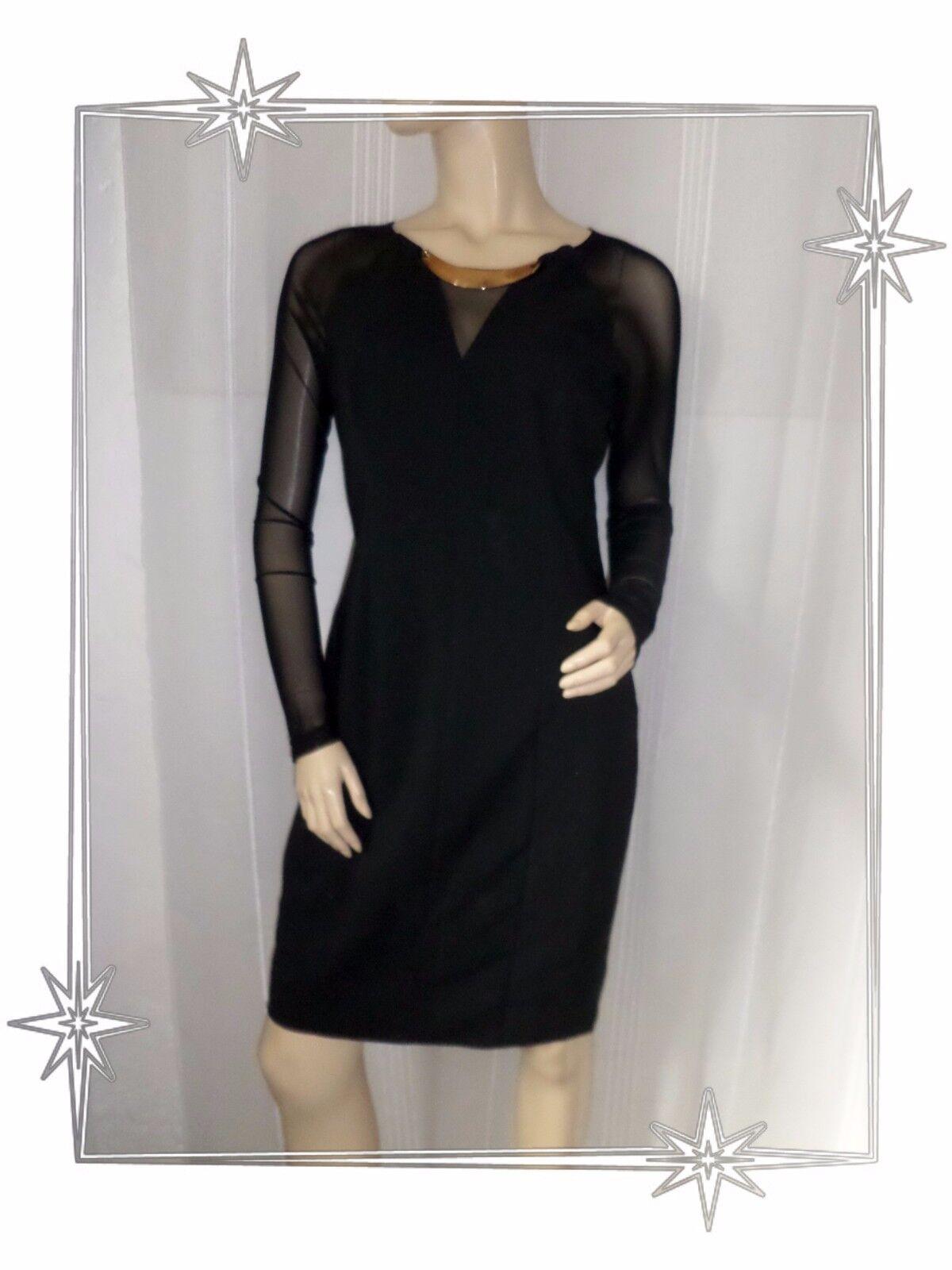 C- Großartig Geradegeschnittenes Kleid Schwarz Tuch Segel Mohito Größe 38 Neue