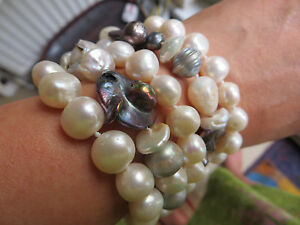 natural-white-pearl-abalone-combination-cuff-bracelet-5-rows-no-metal-8-ins
