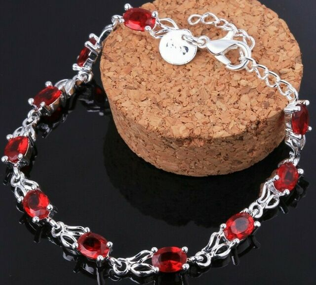 "9 CT Simulated Red Ruby 18K White Gold Plated Tennis Bracelet Jewelry 7.5"" ITALY"