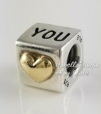 Retired I LOVE YOU Authentic PANDORA 2 Tone Silver/14k GOLD Heart Charm  790200 5700302004908 | eBay
