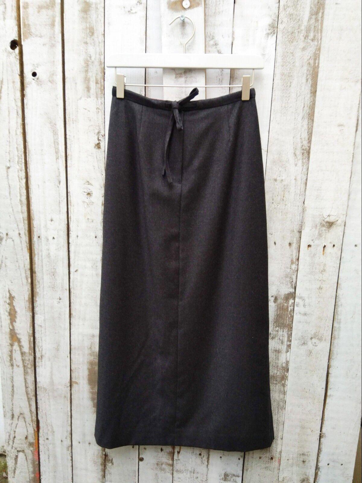 Laura Ashley Waist Tie Dark Grey Pure Wool Skirt Size  8