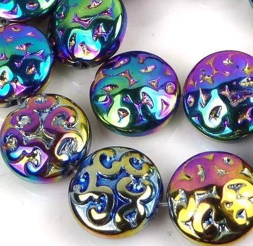 13pcs//Bag 13mm Czech Pressed Glass AB Carved Pattern Disc Bead Metallic Rainbow