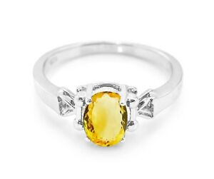 Sterling Silver Ring Natural Yellow Citrine Halo Handmade Size 5 6 7 8 9 10 11