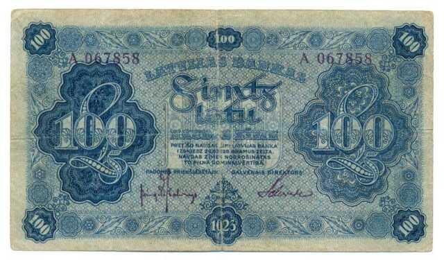 Latvia Latvijas Bankas Bank of Latvia 100 Latu 1923 F P14a RARE