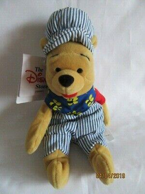 """Disney Store - 8"""" Winnie The Pooh-choo Choo-beanie Peluche Giocattolo Morbido-mostra Il Titolo Originale"""