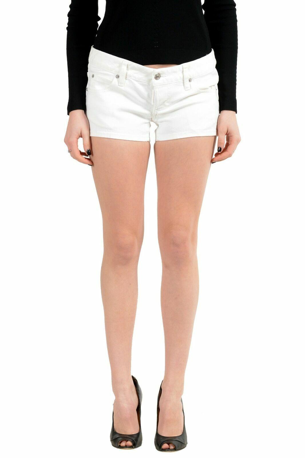 Dsquared2 Women's White Stretch Denim Casual Mini Shorts US 4 IT 40