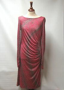 Lk Bennett London 100 Silk Animal Print Ruched Stretch Dress Uk 14 Rrp 255 Ebay