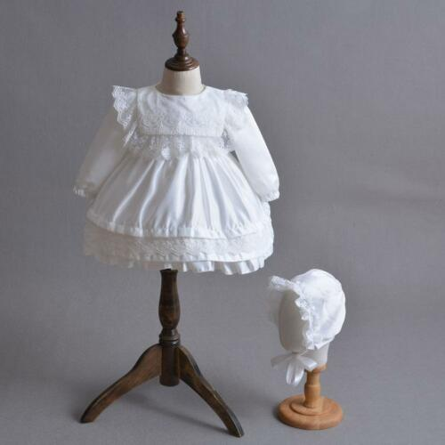 Long Sleeve Newborn Infant Toddler Baptism Embroidery Lace Christening Dress