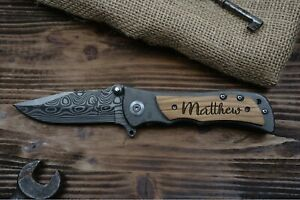 Monogrammed-Personalized-Engraved-Folding-Pocket-Knife-Heavy-Duty-Damascus