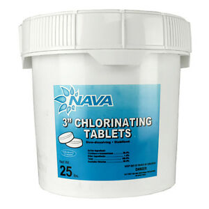 Nava 3 Inch Pool Spa Stabilized Chlorinating Tablets 25