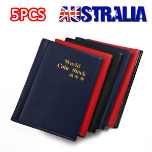 5X 120 Coin Holders Collection Storage Money Penny Pockets Album Book Collecting