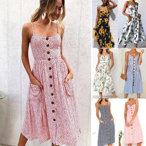 Damen-Sommer-Boho-Strappy-Button-Strand-Midi-Swing-Sundress-lange-Maxi-Kleid-UK