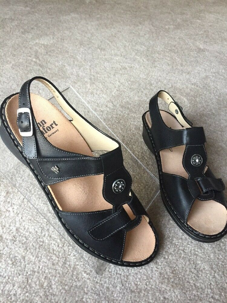 New FINN COMFORT Adana Black Leather Rhinestone Women Women Women shoes Sandals US 9.5 UK 7 c44543