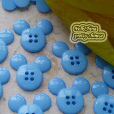 Blue  Mickey Shape 20mm Plastic Buttons Sewing Scrapbooking Craft