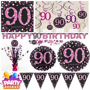 Image Is Loading Pink Sparkling Celebration 90th Birthday Party Tableware Decorations