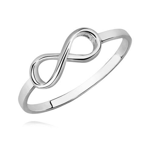 Infinity plata esterlina 925 ANILLO TAMAÑO H I J K L M N O P Q R Plata Maciza