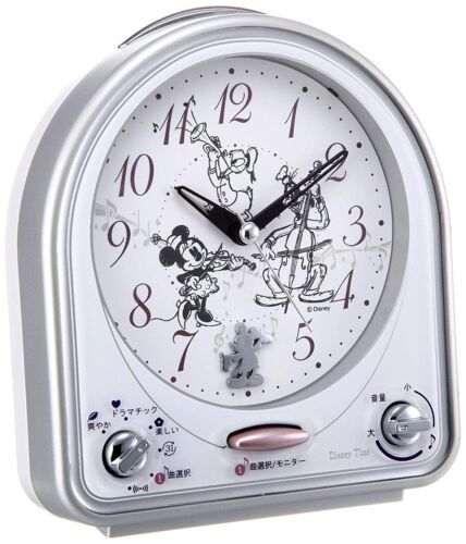 Seiko Clock Alarm Analog Switchable Mickey /& Friends Disney Time Silver FD464S