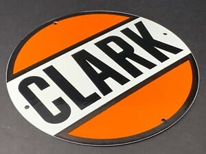"VINTAGE CLARK GAS STATION 12"" PORCELAIN METAL GASOLINE OIL SIGN PUMP PLATE"