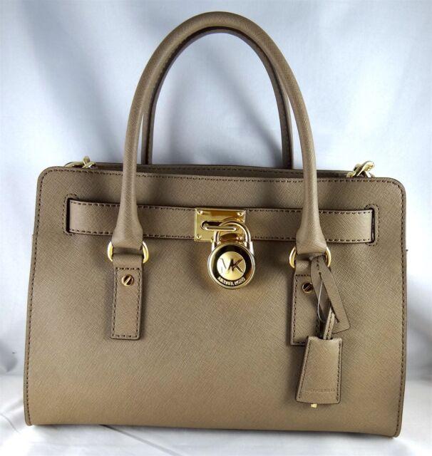 31b849af66cba7 Milchael Kors Hamilton Dark Dune Saffiano Leather EW Medium Satchel Bag