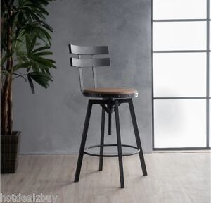 Image Is Loading Industrial Metal Bar Stool Adjustable Wood Back Kitchen